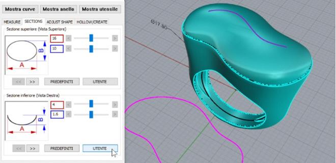 A partire da una curva disegnata sul piano possiamo disegnare un anello con vuotatura differenziale del gambo e della superficie per l'incassatura delle pietre
