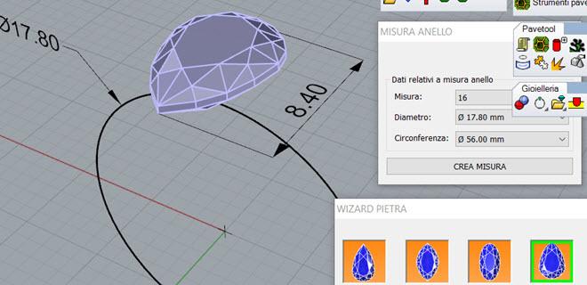 Inserimento dei dati di progetto a partire dalla misura dell'anello e dalle dimensioni e posizione della pietra