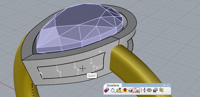 Funzione di traforo del modello a partire dalla selezione della curva per l'alleggerimento del castone